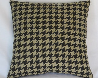 "Houndstooth Throw Pillow Cover, Black and Tan Large Scale Check / Plaid 17"" Square  Ready Ship"