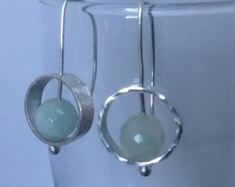 Silver hoop earrings, Silver drop earrings, earrings with amazonite, amazonite earrings, hammered silver earrings, contemporary earrings,