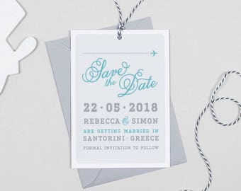 Luggage tag destination Wedding Save The Date cards