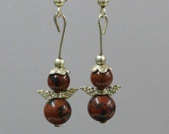 Earrings beads mahogany Obsidian 6 and 8mm, Tibetan silver Angel wings.