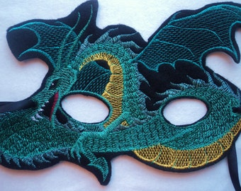 Green Dragon Mask, Embroidered on Felt