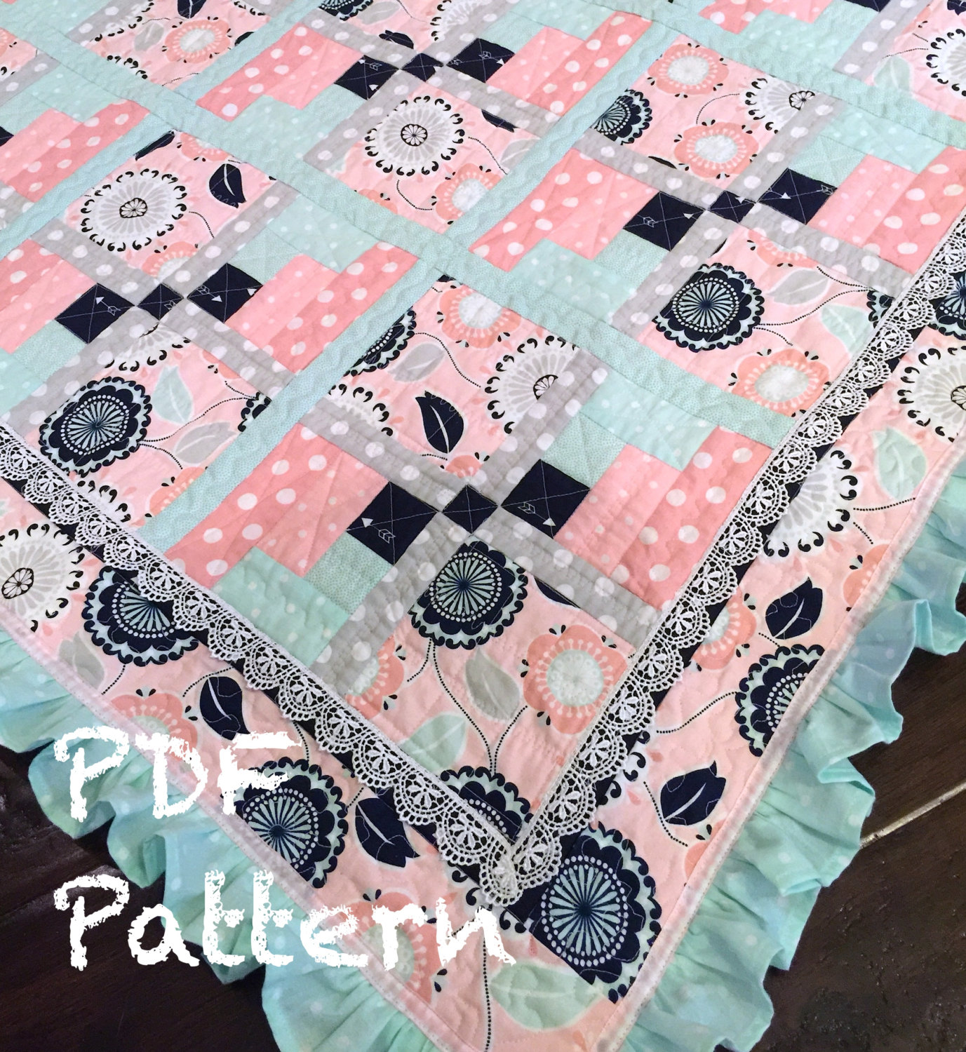 Ruffle Baby Quilt Pattern baby girl Quilt Patter Baby