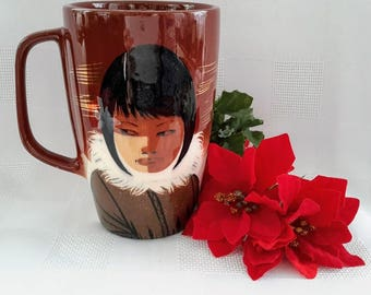 Matthew Adams Alaskan Line Eskimo Girl Beer/Coffee Mug