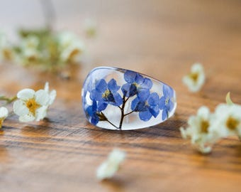 Forget me Nots Ring - Chunky Ring , Something Blue , Botanical Jewellery , Pressed Flower Ring , Nature Jewellery , Handcrafted Ring