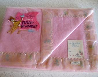 Vintage Disney Bambi and Friends Pink Baby Blanket NOS in Original Package!