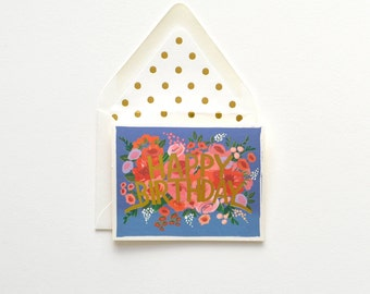 Blue Floral Happy Birthday Gold Card