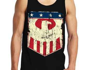 USA American Eagle Badge Patriotic Flag Patriotism 4th Of July United States Of America Constitution  Men's Tank Top OSF-0024