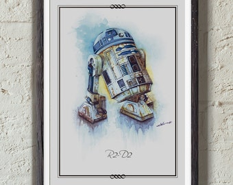 R2-D2 of Star Wars illustration limited edition watercolor copy