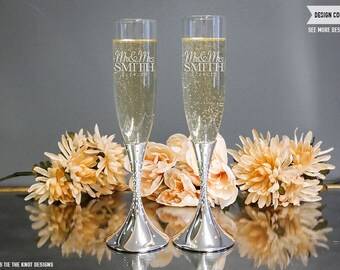 Nambe Tilt Dazzle Personalized Toasting Flutes - (Set of TWO) Custom Engraved Champagne Flutes - Wedding Gift - Engagement Bride Groom Gift