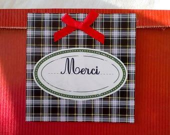 A bag of Red kraft 25 x 16 gift for teacher, Scottish