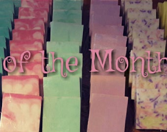 Soap of the Month Club, bath bombs, goat's milk soap, 2 bars, 3 bombs, 1 to 2 surprise bath treats a month