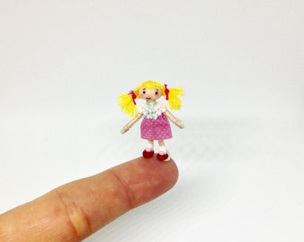 Miniature Doll Looby Rag Dolly For 48th 1:48 1/48 1/4 Quarter Scale Dollhouse Art Doll Handmade