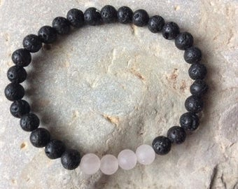 Lava bead essential oil diffuser bracelet for aromatherapy - 6 mm lava stone beads with rose quartz  beads