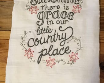 Country flour sack dish towel there is sunshine