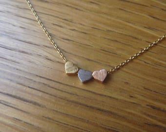 Oro, oro collana cuore rosa e argento