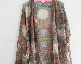 Kimono with Feather Print and Pom Pom Sleeves