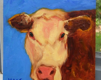Brown Cow Oil Painting Original Gifts for Cow Lovers Farmhouse Decor Rustic Chic Home Wall Decor Honeystreasures California Artist Art USA