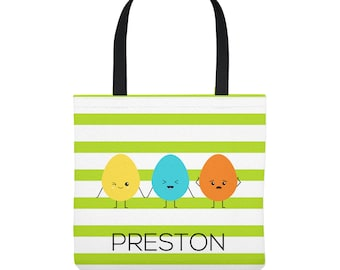 Personalized Easter Tote Bag - Kawaii Easter Eggs - Personalized with Child's Name - Three Sizes