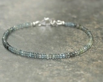 Moss Aquamarine Bracelet, Moss Aquamarine Jewelry, March Birthstone, Ombre, Layering Gemstone Jewelry