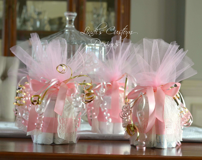 Pink Gold Mini Diaper Cupcake Table Centerpieces Unique Baby