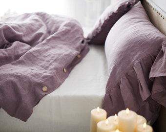 Wood rose Linen Duvet cover-15 colors - Pre washed Linen Duvet Cover-Linen bedding-Stonewashed duvet -Natural Duvet Cover #November rain#