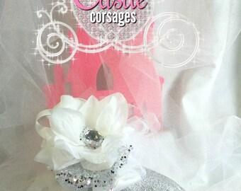 White Prom Corsage, Wedding Corsage, Wrist Corsage, Silk Corsage, Bridesmaids Accessories, Women's Groups