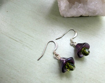 Lilac and Emerald, Lavendar and Sage, Spring Colors, Spring Drops, Teen Earrings