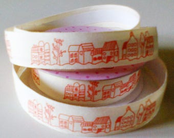 cotton tape Ribbon: Red village