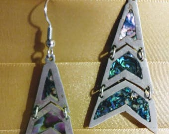 Mexico silver earrings, with abalone.