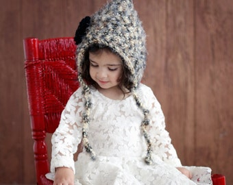 Hat Hood Bonnet CROCHET PATTERN Baby & Girls The Hollyhock  From the Danica Collection 3 sizes Newborn to 4T