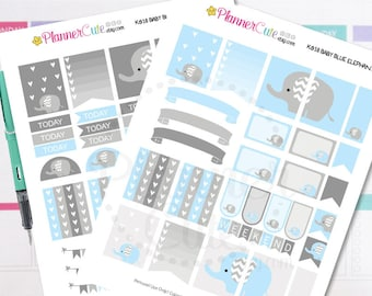 Elephant Planner Stickers,  Baby Blue Elephant, Kawaii Printable Planner Stickers, Cute Stickers for your planner K018