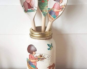 Bella and boo hand made decoupage kilner jar 1ltr hand painted decoupaged storage office bedroom shabby chic childrens room LIMITED EDITION