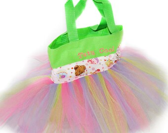 Tutu Bag, Pink Cupcake Tutu Bag, Free Monogram Name Embroidered on The Bag. Personalized Girl Dance Bag, Tutu Bag, Dance Bag,Party Favors