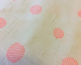 Vintage pale peachy beige slubby rayon with bright pink stripey multisized dots fashion fabric yardage remnant