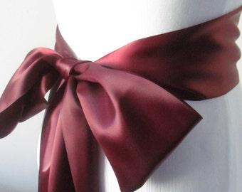 Cranberry Satin Ribbon Sash / Ribbon Sash / Satin Bridal Sash /  Bridesmaid Sash /