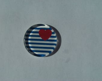 Cabochon 25 mm round and flat with his image sailor blue and white stripe with red heart