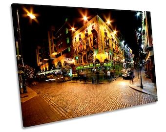 Temple Bar Ireland Dublin CANVAS WALL ART Picture Print Box Framed