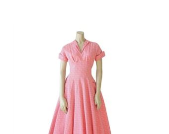 1950s Dress • ATOMIC PRINT • 50's Day Dress • Pink • Small S M