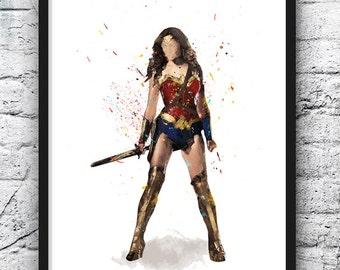 Wonder Woman Watercolor Print, Superhero, Movie Poster, DC Comic Book, Batman vs Superman, Wall Art, Home Decor, Kids Room Decor - 522
