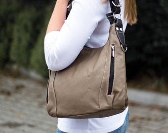 LEATHER HOBO Bag, SHOULDER Bag, Leather Purse, Cappuccino Women's Handbag, Leather Handbag Everyday Crossbody Leather Bag Leather Laptop Bag