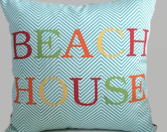 SALE - BEACH HOUSE Sayings Pillow, Script Pillow, Red Blue Coastal Pillow Indoor Outdoor Throw Pillow Cushion Cover Beach Decor 17X17
