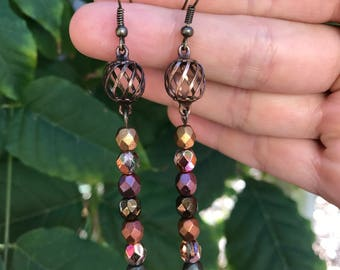 Metallic Beaded Earrings || Fall Earrings || Autumn Earrings || Beaded Earrings || Faceted Earrings