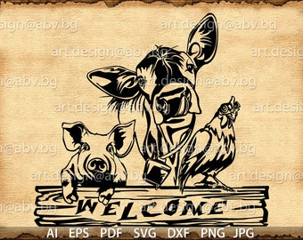 Vector ANIMAL FARM, text, ai, eps, pdf, svg, dxf, png, jpg Download, Digital image, graphical, animal, cow, pig, welcome, hen, fowl, cock