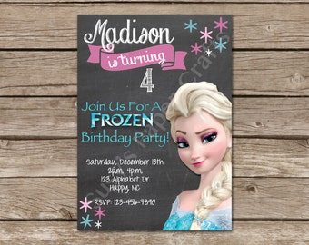 Elsa from Frozen Birthday Invitation, Digital File, You Print