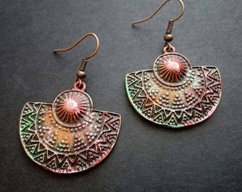 Boho Earrings   Ethnic Earrings   Bohemian Earrings   Vintage Earrings   Pendientes    Gipsy Earrings   Verdigris Patina Earrings