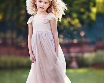 Flower girl dress, Flower girl dresses, Blush mauve pink Lace Flower girl dress, rustic flower girl dress, tulle flower girl lace dresses