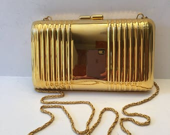 Whiting and Davis Solid Gold Metal Dressy Crossbody Purse