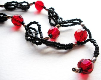 Beaded Handmade Red Black and Silver Drop Necklace