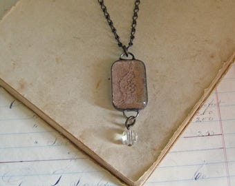 Lace Long Necklace Rectangle Glass Jewelry