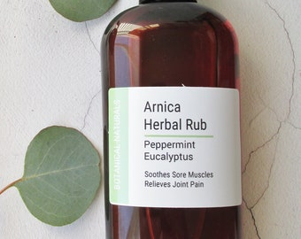 Arnica Blend Sore Muscle Rub, Eucalyptus & Peppermint Massage Oil,